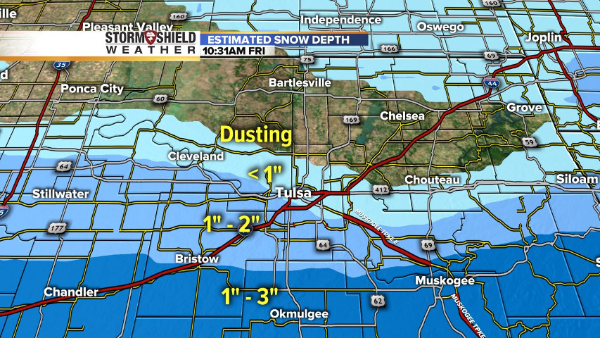 Some Districts North Of Tulsa Didn T Close And This Snow Depth Map Shows The Areas In Green Country Where The White Stuff Fell And Approximately How Much