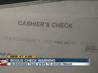 Fraud alert for checks