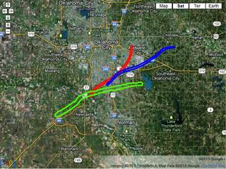 Tornado tracks from May 1999 and 2013 tornadoes