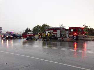 Fire truck hit while working accident