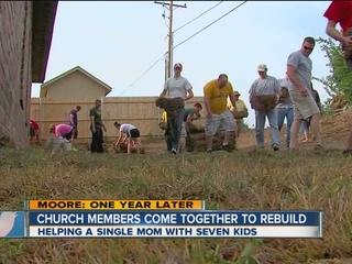 Moore families spend anniversary volunteering