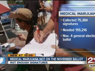 Medical marijuana to not appear on Nov. ballot