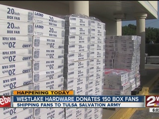 Local hardware store donates boxed fans