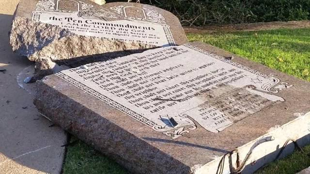 Image result for Ten Commandments monument destroyed