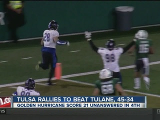 Tulsa rallies to beat Tulane for 6th win, 45-34