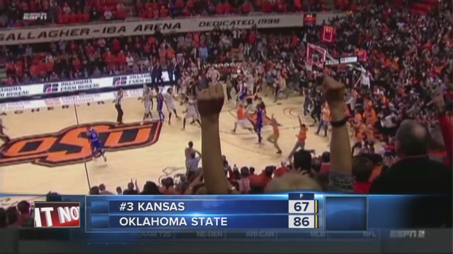 Oklahoma State coach Travis Ford gives emotional speech after win over Kansas