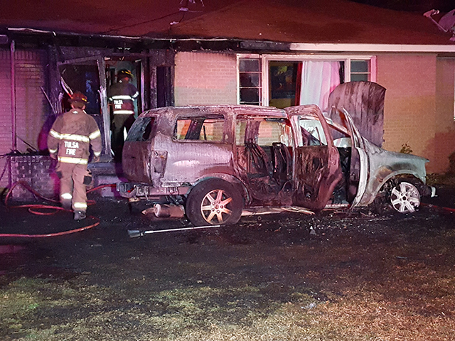 Vehicle fire damages home in north Tulsa