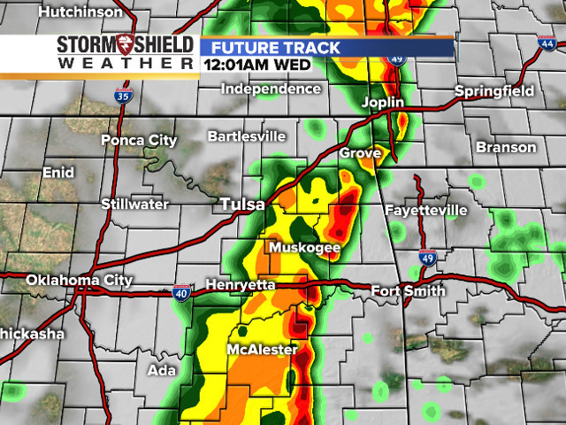 Oklahoma Weather Map TIMELINE: Where the storms will be tonight