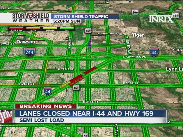 Produce truck crashes, closing part of I-44