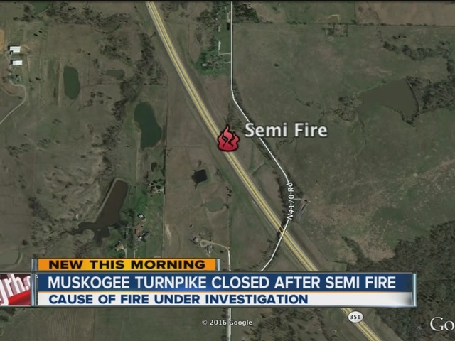 Semi catches fire on Muskogee Turnpike
