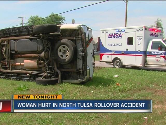 Woman injured after north Tulsa rollover crash Sunday morning