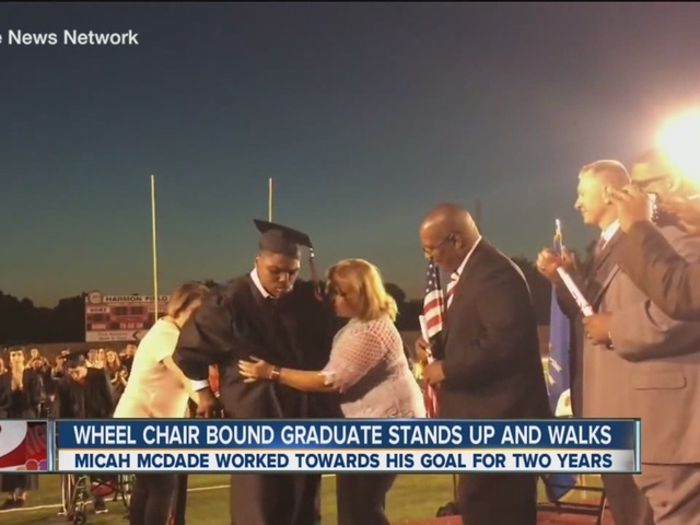 Wheel Chair Bound Graduate Stands Up And Walks