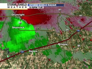 Radar images track possible tornado in Bristow