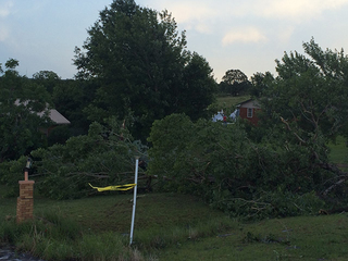 Possible tornado causes damage in Bristow