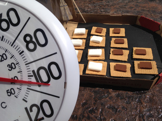 Making smores with a pizza box and the heat