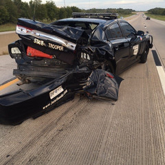 OHP trooper jumps median to avoid SUV wreck