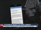 Student speaks out following rape arrest