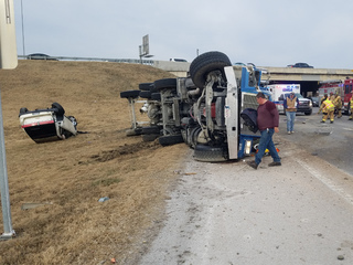 Overturned cement truck and SUV on BA Xpwy