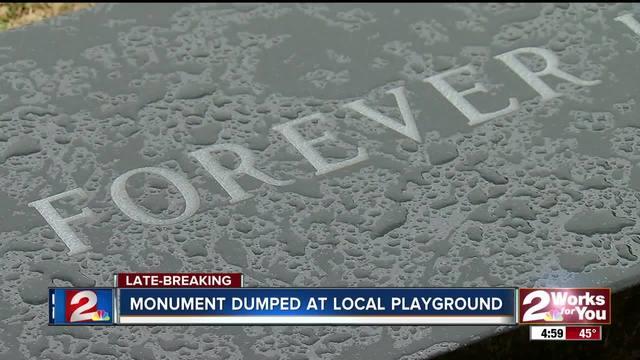 Monument dumped at Tulsa playground