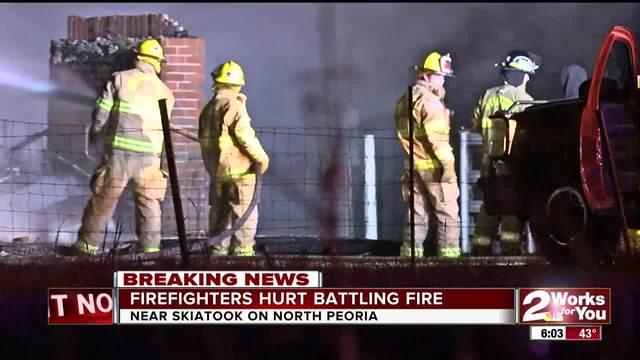 Two Skiatook firemen hurt battling a garage fire