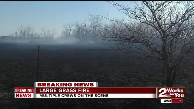Firefighters respond to large Talala grass fire