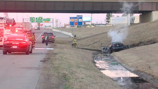 Uber driver-s car catches fire on I-44 in Tulsa after collision