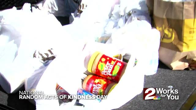 We gave away free coffee and collected food donations on National Random…