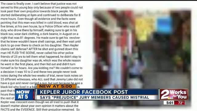 Juror in Kepler mistrial calls other jurors racist