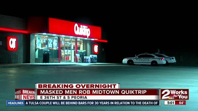 Tulsa Police searching for two masked men from midtown Quiktrip robbery