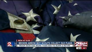 Boy Scout troop collects old flags to retire