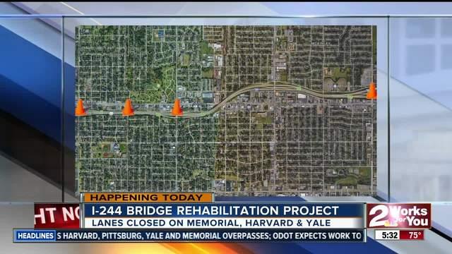 Traffic delays expected due to I-244 bridge rehabilitation project