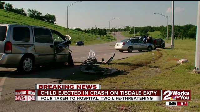 Child ejected in Tisdale Expy crash