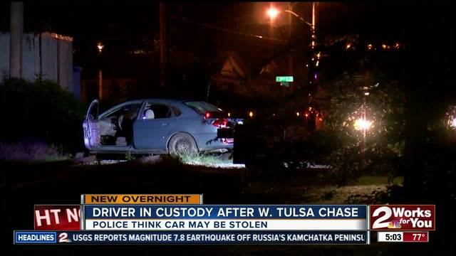 Driver in custody after chase in West Tulsa