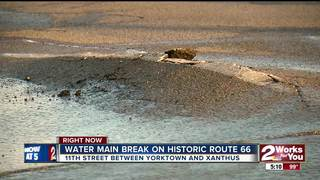 Waterline repairs on Historic Route 66 in Tulsa