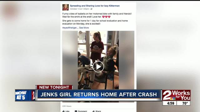 Crash victim Izzy Kitterman returns to Jenks