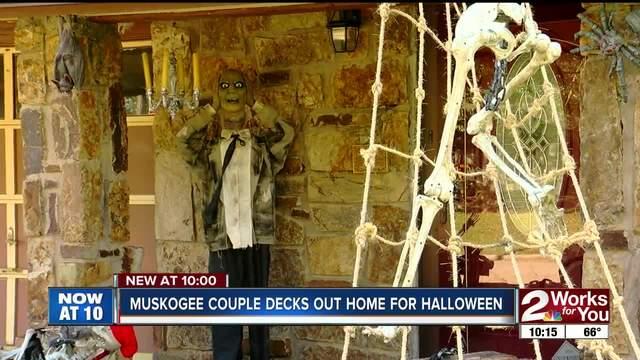Muskogee couple decks out home for Halloween- ready to spook neighborhood