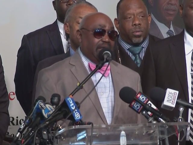 Terence Crutcher's father, Rev. Joey Crutcher with Al Sharpton speaks…