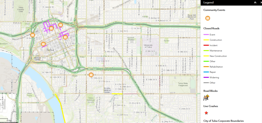 below is a map of road closures in the downtown tulsa area click on the map for more information