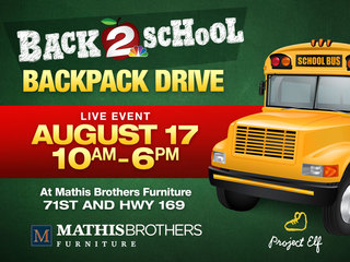 August 17 backpack drive at Mathis Brothers