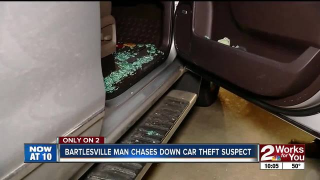 Bartlesville man chases down car theft suspect