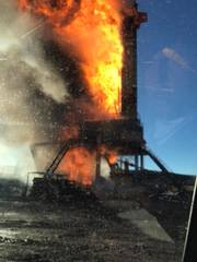Oil rig explodes in Quinton