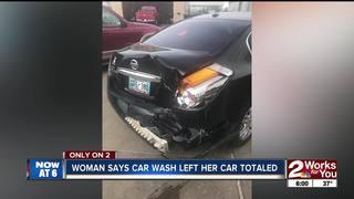Car totaled at south Tulsa car wash