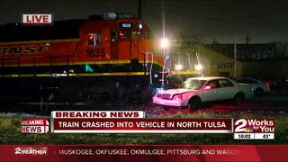 Minor injuries in train vs. vehicle collision