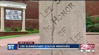 Monument removed outside Lee Elementary