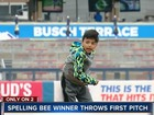 Spelling bee winner throws Drillers first pitch