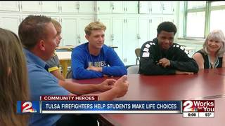 Tulsa firefighters help students