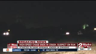 High-speed chase ends in crash, suspect on run