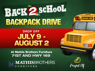 Donate backpacks, socks at Mathis Brothers