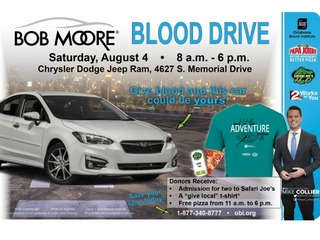 Give blood today for chance to win a new car
