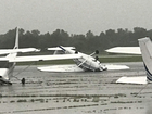 Plane flips over at Jones Airport in Jenks